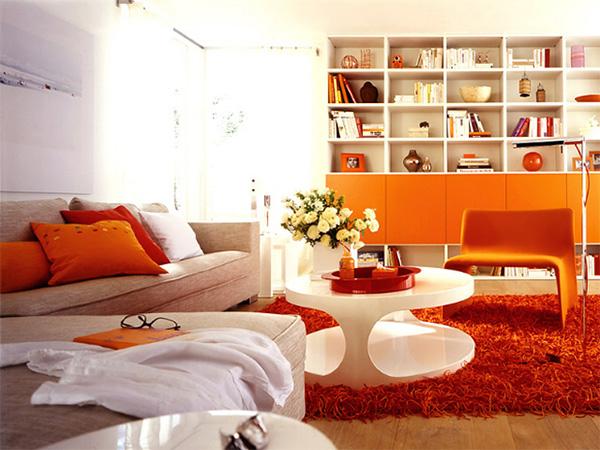 Оформление гостиной в оранжевом цвете