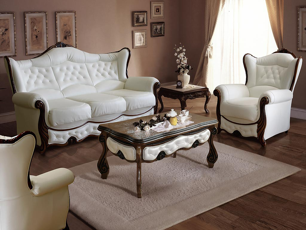 белая кожаная мебель